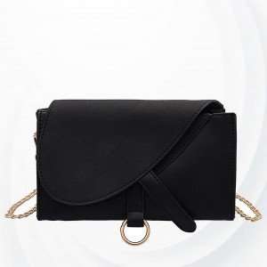 Solid Button Closure Chain Strap Messenger Bags - Black