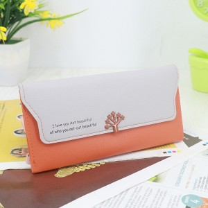 Magnetic Closure PU Leather Wristlet Wallets - Orange