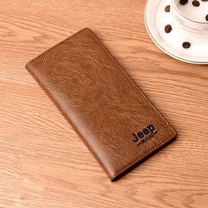 Flip Pu Leather Multi Pockets Solid Hand Wallets - Light Brown