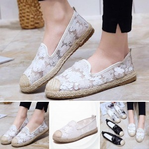 Embroidery and Lace Pattern Casual Female Flats - White