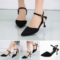 Buckle Closer Party Wear Suede Heel - Black