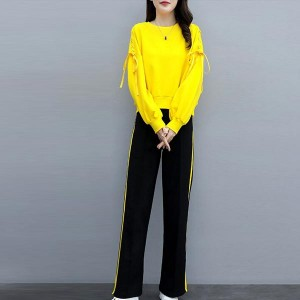 Long Sleeve Round Neck Tracksuits Women Dresses - Yellow