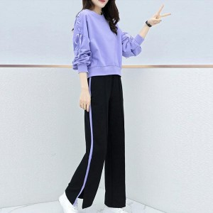 Long Sleeve Round Neck Tracksuits Women Dresses - Purple