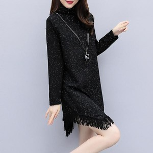 Tassel Pullover Long Sleeve Loose Women Dresses - Black