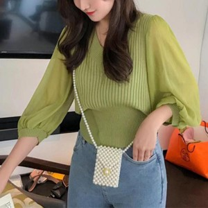 Loose V-neck Solid Lantern Sleeve Women Tops - Green