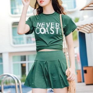 Text Prints Two Pieces Swimwear Suit - Green