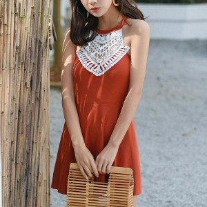 Lace Hollow Texture Halter Neck Swimwear Dress - Orange