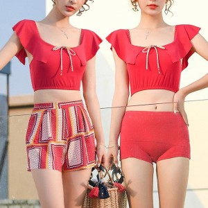 Geometric Prints Three Pieces Beach Swimwear Suit - Red