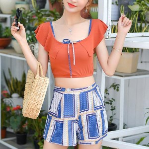 Geometric Prints Three Pieces Beach Swimwear Suit - Orange