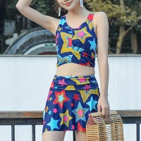 Stars Printed Two Pieces Beach Swimwear Suit - Blue
