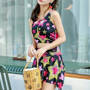Stars Printed Two Pieces Beach Swimwear Suit - Black