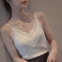Sling Tops Stitching Knitted Casual Women Blouse - White