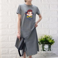 Short Sleeve Clothes Cartoon Printed Female Dress - Gray