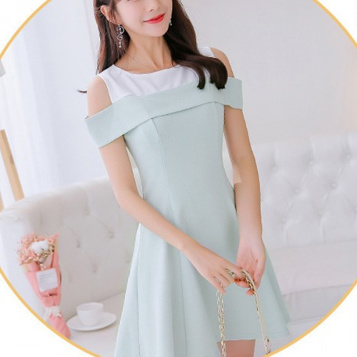 Boat Neck Cold Shoulder Solid Formal Dress - Green