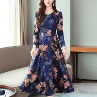 Floral Belt A-line O-neck Long Sleeve Women Dress - Blue