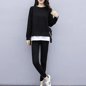 Loose Top Round Neck Tracksuits Women Dresses - Black