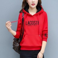 Pullover Loose Thick Letters Punched Girl Hoodies - Red