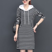 Mini-length Long-sleeved Striped Hooded Dress - Black White