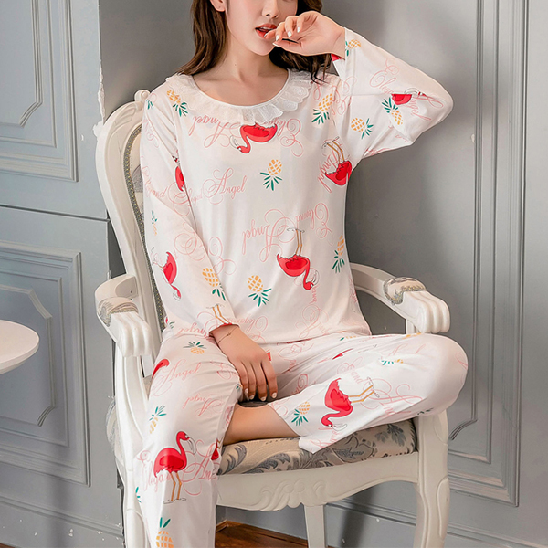 Birds Printed Soft Cloth O Neck Night Wear Suit - White