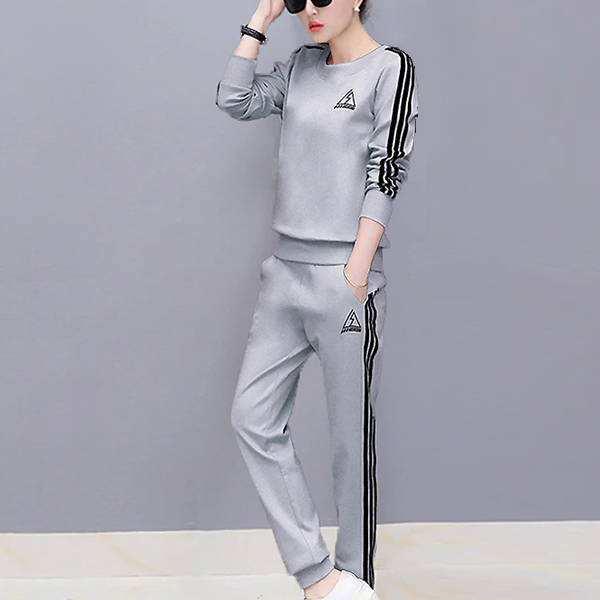 Sport Wearing Stripes O Neck Two Piece Suit - Grey