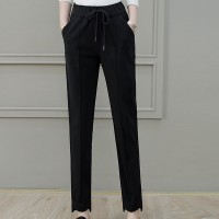 Woolen High-waist Loose Office Wear Women Pants - Black
