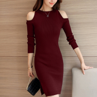Ribbed Cold Shoulder Round Neck Mini Dress - Burgundy