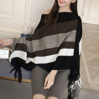Shawl Neck Striped Tassel Winter Cloak - Black