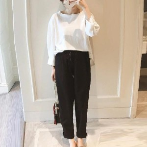 Loose Top Round Neck Two Pieces Women Dresses - White