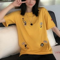 Cartoon Embroidery Casual Loose Women T-shirts - Yellow