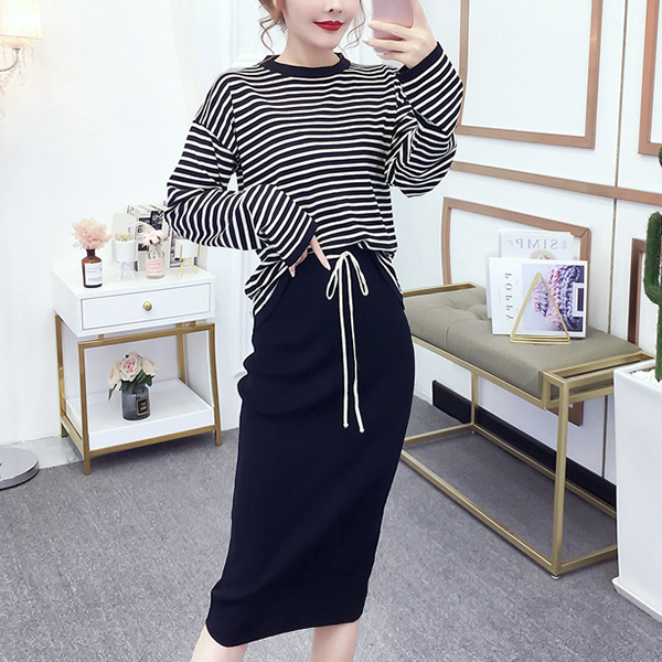 Striped Sports Wear Top With Skirt Bottom - Black
