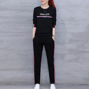 Round Neck Tracksuits Long Sleeve Women Dresses - Black