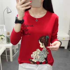 Long-sleeved Doll Printed Loose Round Neck Shirt - Red