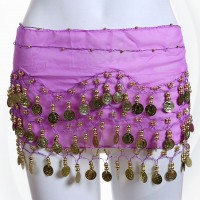 128 Coins New Style Belly Dance Waist Chain  - Purple