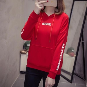 Long Sleeve V-neck Hoodies Women Tops - Red