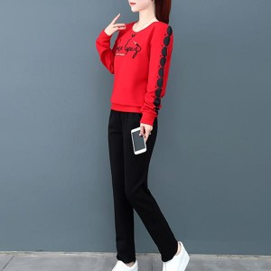 Sportswear Loose Long-sleeved Women Dresses - Red