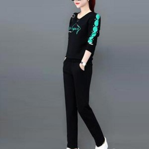 Sportswear Loose Long-sleeved Women Dresses - Black
