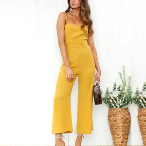 Strap Shoulder Casual Straight Romper Dress - Yellow