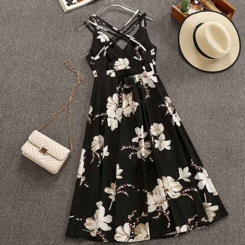 Backless Floral Maxi Beach Printed Dress - Black