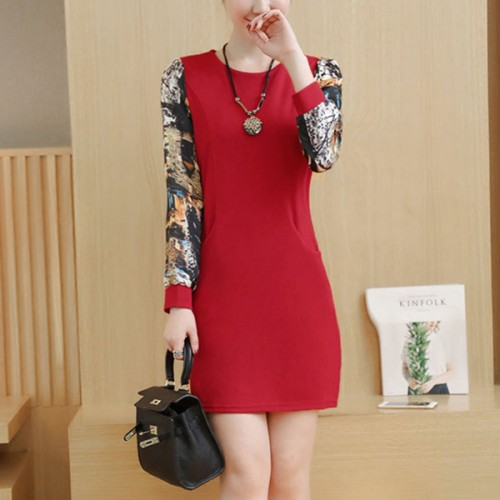 Printed Sleeves O Neckline Mini Party Dress - Red