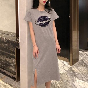 Short Sleeve Cocktail Straight Cotton Women Dress - Gray