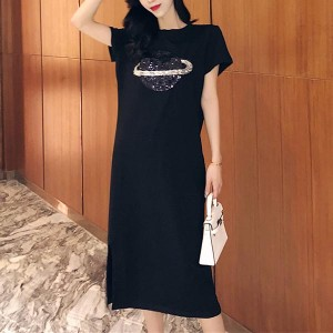 Short Sleeve Cocktail Straight Cotton Women Dress - Black