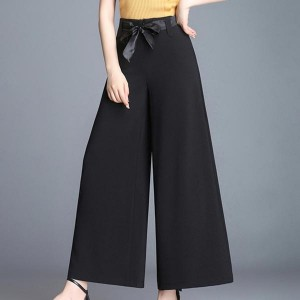 High Waist Loose Solid Cotton Wide-leg Trousers - Black