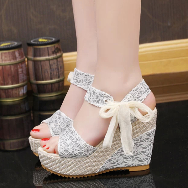 Wedge Knotted Closure Party Wear Sandals - White