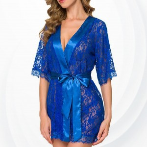 Lace See Through G-String Nightwear Lingerie Set - Blue