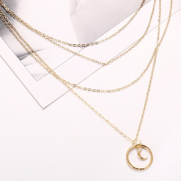 Four Layered Gold Plated Pendant Necklace