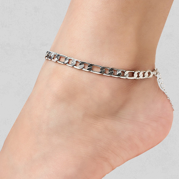 Silver Plated Thick Chain Anklet