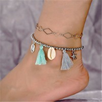 Beads Decorative Tassel Silver Plated Anklet