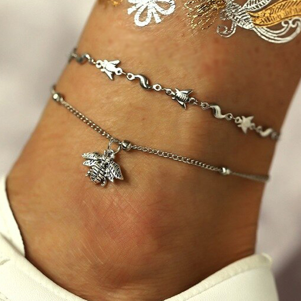 Bee Engraved Silver Plated Chain Anklet