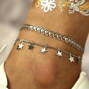 Silver Plated Star Hanging Anklet