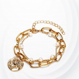 Gold plated Chin Pearl Decorative Party Bracelets -  Golden